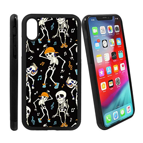 [Dancing Skeletons Music Party Halloween Pattern] Compatible with Apple iPhone Xs Max, Non-Slip Soft Rubber Side & Hard Back Case Cover Shell Skin ()