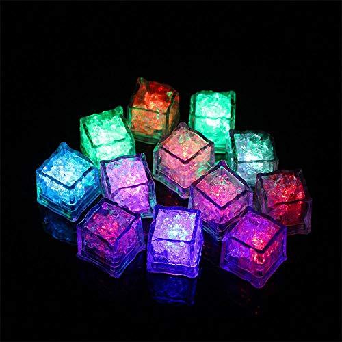 OVERMAL_Toy Gift Idea 12 pcs Party Decorative LED Ice Cubes Light Multicolor Liquid Sensor Bar Party -