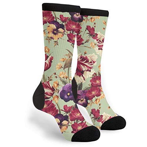 Tulips Pansy and Dogrose Men & Women Casual Cool Cute Crazy Funny Athletic Sport Colorful Fancy Novelty Graphic Crew Tube Socks