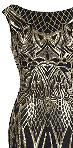 Angel fashions Paillette a ramo un donne Oro con Vestito abito paillettes delle senza Nero netto albero spalline sirena di rpqwpfd