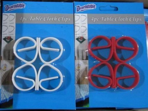 Set of 8 Table Cloth Tablecloth Clips Clamps Dependable Industries inc