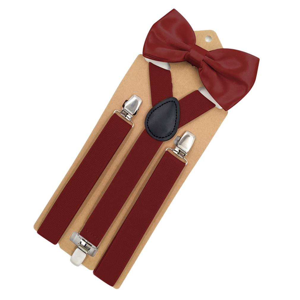 SupSuspen Mens Y Back 3 Clips Elastic Suspenders Braces 1 In Width /&Bow Ties Set