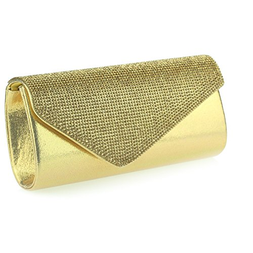 Evening Envelope black brown Bag red Ladies Aarz Party Prom Wedding Shaped Diamante gold silver Clutch Purse Gold Bag Women qHfWAgwX