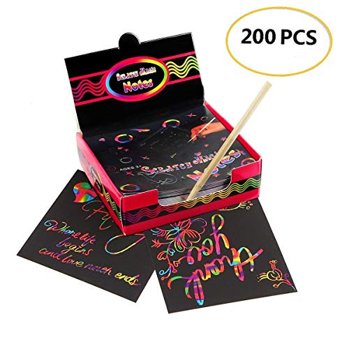 omlopp Scratch Art Notes 200 Sheets Rainbow Mini Notes with Wooden Stylus