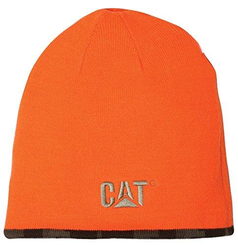 CAT Workwear Mens & Womens Reversible Warm Acrylic Logo Beanie Cap Hat Hi Vis Orange