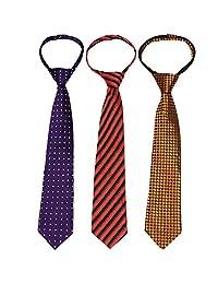 kilofly Pre-tied Adjustable Zipper Tie Kids Boys Baby Necktie Value Set of 3