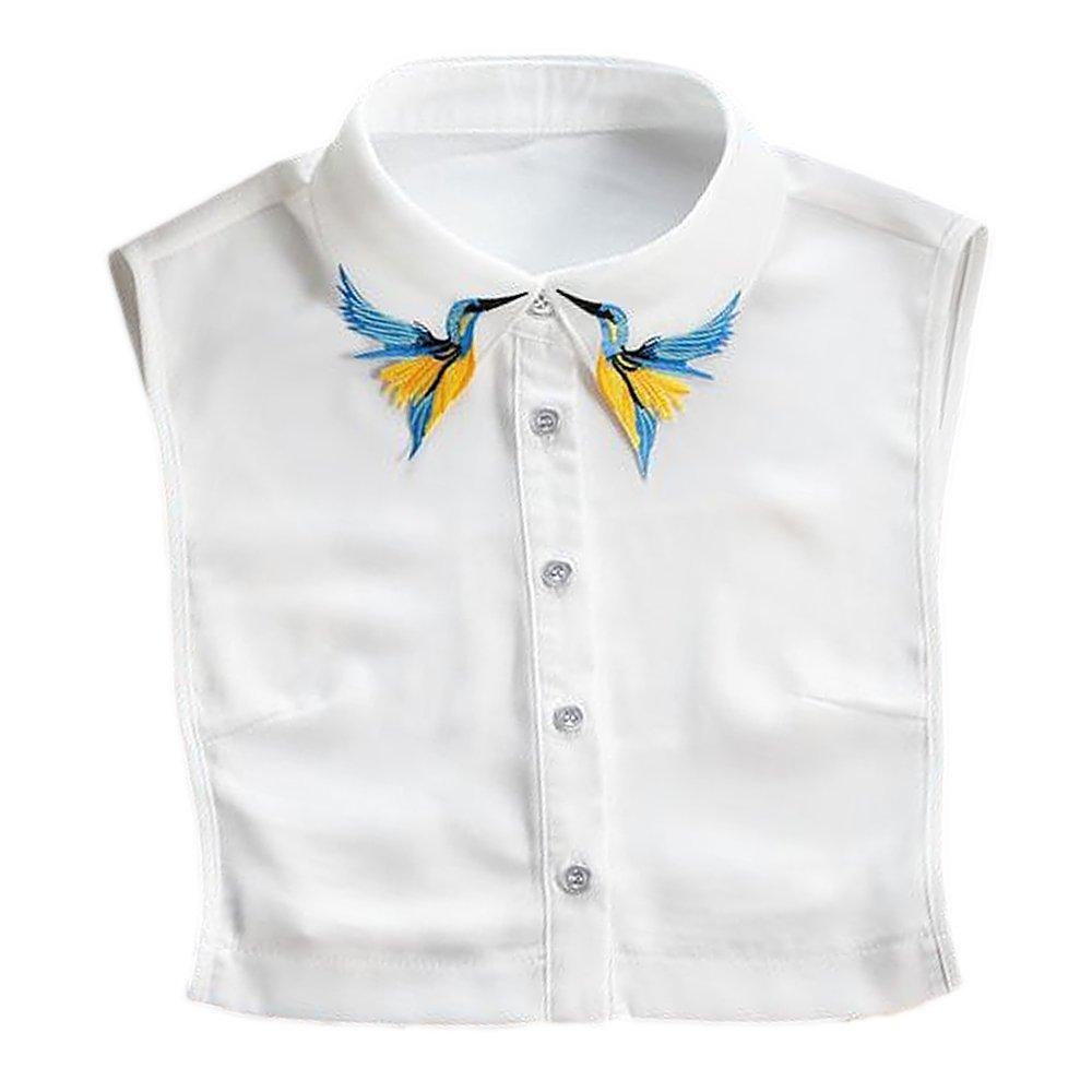 Colletto Staccabile Donna Elegante Ricamato Uccelli Modello Chiffon Finto Collare