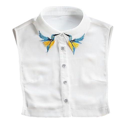 Collar de Camisa Falso,Vococal® Collar Falso Patrón Elegante de los Pájaros Bordados Collar de Gasa ...