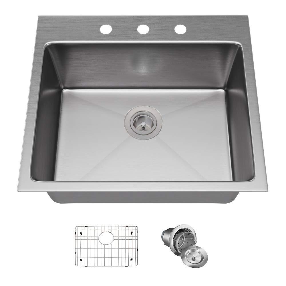 MR Direct T1823 Topmount 3/4-Inch Radius Kitchen Sink, Grid, and Basket Strainer