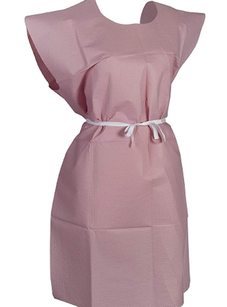 Patient Exam Gowns. Pack of 50 Adult Disposable Gowns 30 x 42. Mauve Patient Gowns with Short sleeves and Waist Belt. Non-sterile examination gowns. One size. Front/back opening.