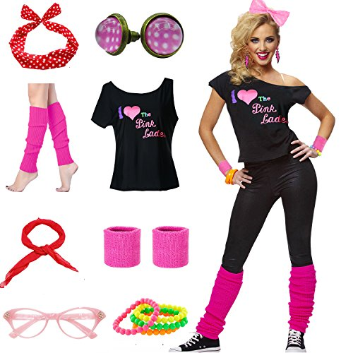 Mygoodie Women Pink Lady T-Shirt 50's Costume Accessories Outfit (XL/XXL, Hot (50 Themed Party Clothes)