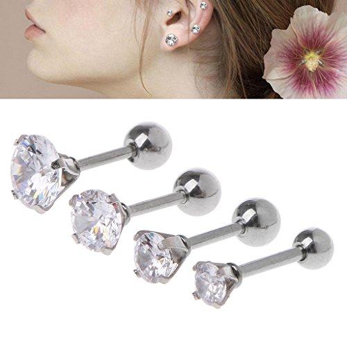 Hoop 5mm Medium Earrings (SimpleLif Stud Earrings Set (Pack of 4),Stainless Steel Ear Studs Piercing Barbell Earrings Cubic Zirconia Inlaid)