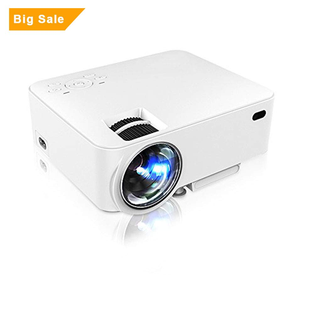 Projector, GBTIGER M1 Portable Projector 1500 Lumens 800 x 480 Pixels & Keystone Correction with VGA HDMI USB SD Card Slot for Home Theater Office Education LCD LED Projector, White by GBTIGER
