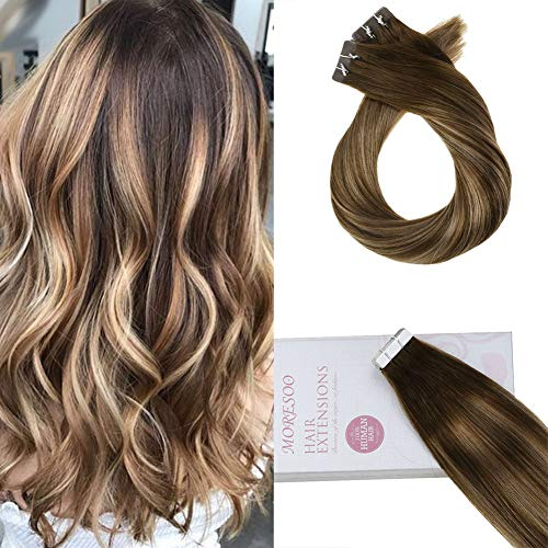 (Moresoo Tape in Hair Extensions Remy Human Hair 14inch 20PCS 50G Glue in Human Hair Extensions Brazilian Remy Hair Seamless Skin Weft Hair Balayage #4 Brown Ombre #27 Blonde Mixed #4 Tape in Hair)