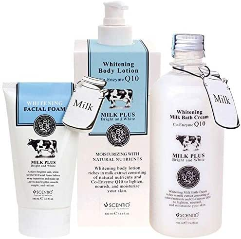 SET OF 3 Scentio Bath & Shower Set - Bath Cream Body Lotion & Facial Form Fresh Milk Aroma - Brighten and Moisturize the Skin