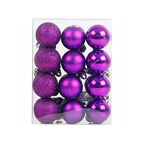 TangTanger Christmas Ball Assorted Pendant Shatterproof Ball Ornament Set Seasonal Holiday Wedding Party Decorations(24 pcs, 3 cm) (Purple) ()
