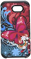 HR Wireless For Samsung Emerge J3 2017 Rubberized Design Slim Dual layer Hybrid Premium Plastic Blister Package cases - Butterfly Bliss