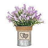 AOZITA Mini Fake Plant Artificial Potted Plants Small Plastic Purple Flower in Galvanized Iron Pot for Rustic Decor Farmhouse Home Decorations