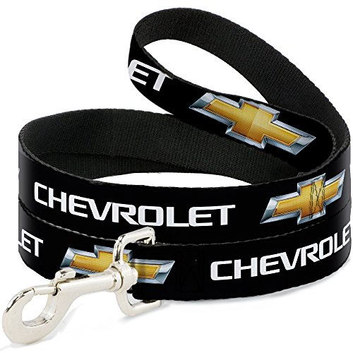 Buckle-Down Pet Leash - Chevy Bowtie Black/Gold Logo REPEAT - 6 Feet Long - 1