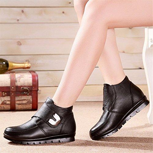 Warm With Flat Shoes Cotton Winter Plus Shoes HXVU56546 Velvet Padded Black Ladies' Boots q4zIw