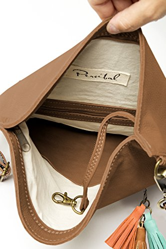 Soft leather crossbody bag   Fold over purse   Practical for woman and girls (Tan) by Percibal (Image #3)