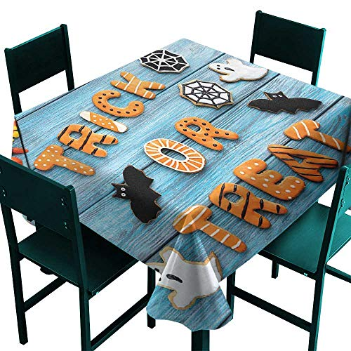 Warm Family Halloween Dustproof tableclothFresh Trick or Treat Gingerbread Cookies on Blue Wooden Table Spider Web Ghost Great for Buffet Table D55 -