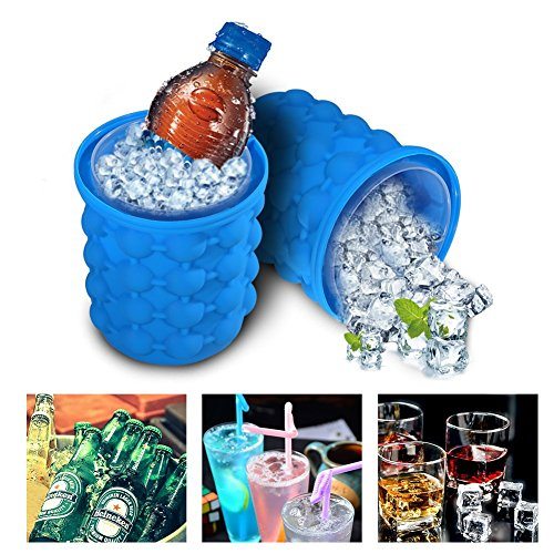 Ice Cube Maker Genie Saving Ice Ball Maker Bucket Revolutionary Space For Party Drink Tub Silicone Trays Mold Kitchen Tools For Chilling Burbon Whiskey Cocktail Beverages And So On