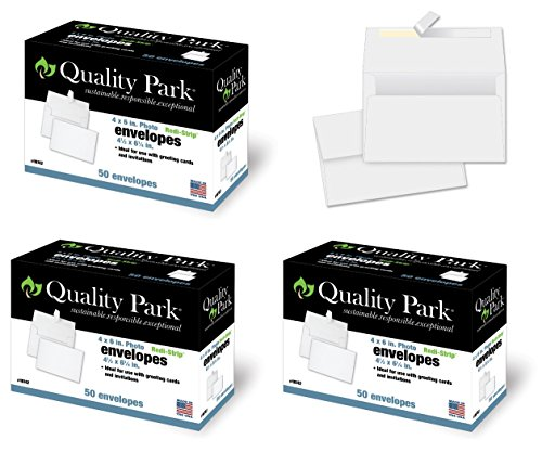 (Quality Park 4-1/2 x 6-1/4 Photo Envelopes with Self Seal Closure, 24 lb White Wove, Ideal for 4