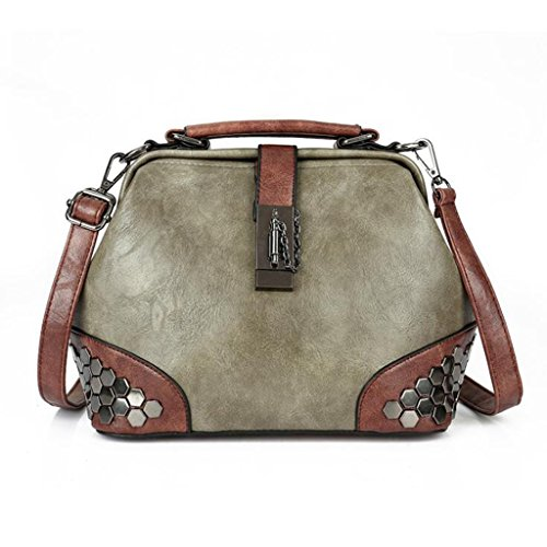 Femme Générique Messenger Simple Mode taille 25 Lady Portable Sac À Main Lock Bag Épaule 20cm Sauvage Green Rivet 14 qtwRqr