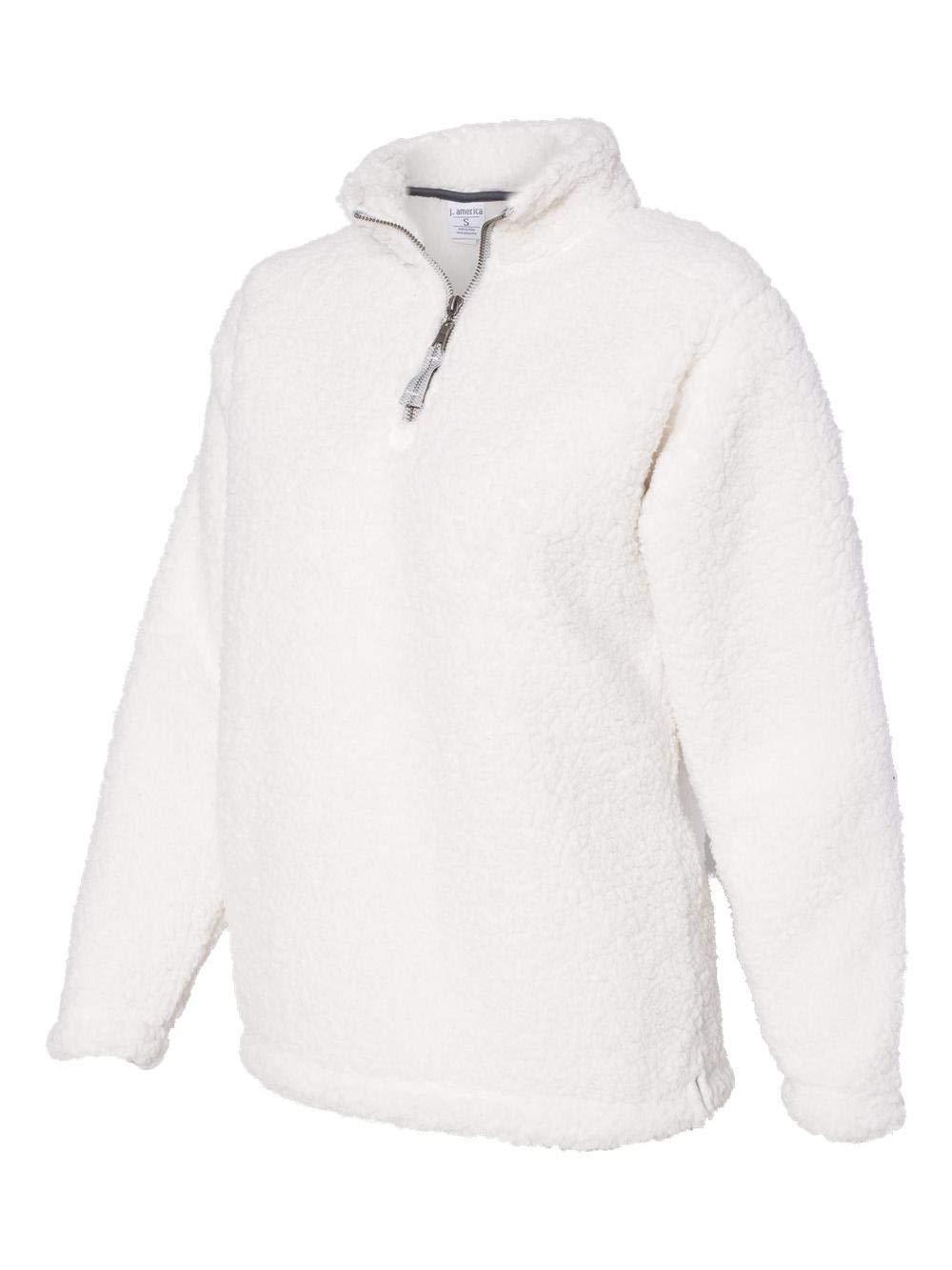 J. America Womens Epic Sherpa 1/4 Zip Sweatshirt (JA8451) -Cream -XL by J. America