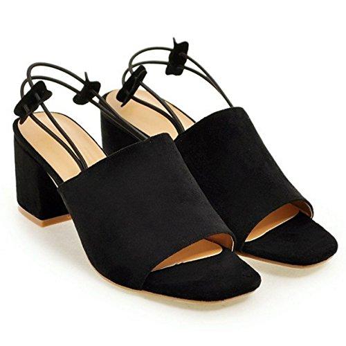 Coolcept Mujer Moda Sin Cordones Sandalias Punta Abierta Singback Planos Zapatos (32 EU, Black)