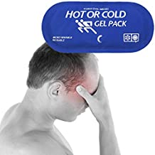 """Migraine Relief Ice Pad Freezer Gel Pack Hot Cold Therapy Compress, Heating Cooling Compress, Great for Cool Summer Heat, Comfort Arthritis, Soft Headache, 5"""" x 11"""", Blue"""