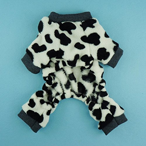 Fitwarm Adorable Milk Cows Pet Dog Clothes Comfy Velvet Winter Pajamas Coat Jumpsuit, Small by Fitwarm (Image #3)