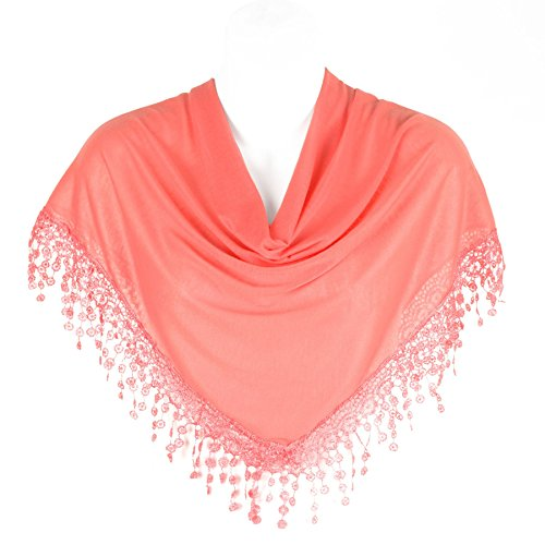 Stylish Triangle Bobbin Lace Fringed Ladies Womens Scarf Shawl Wrap, Salmon Pink