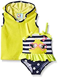 Baby Buns Baby Girls\' Little Chick Terry Cover Up Swim Set, Multi, 3-6 Months