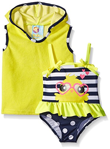 Baby Buns Baby Girls' Little Chick Terry Cover Up Swim Set, Multi, 3-6 Months