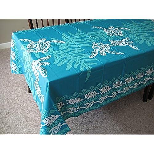 Kauhale Living Honu Sea Turtle Under Lawai Hawaiian Quilt Print Water  Resistant Tablecloth 60 X 108 Teal