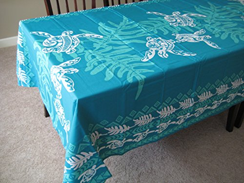 Kauhale Living Honu Sea turtle under lawai Hawaiian Quilt Print Water Resistant Tablecloth 60'' x 60'' Teal color by Kauhale Living