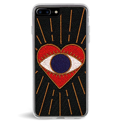Zero Gravity Case Compatible with iPhone 7 Plus/8 Plus - Visions - Embroidered Eye Heart Design - 360° Protection, Drop Test Approved