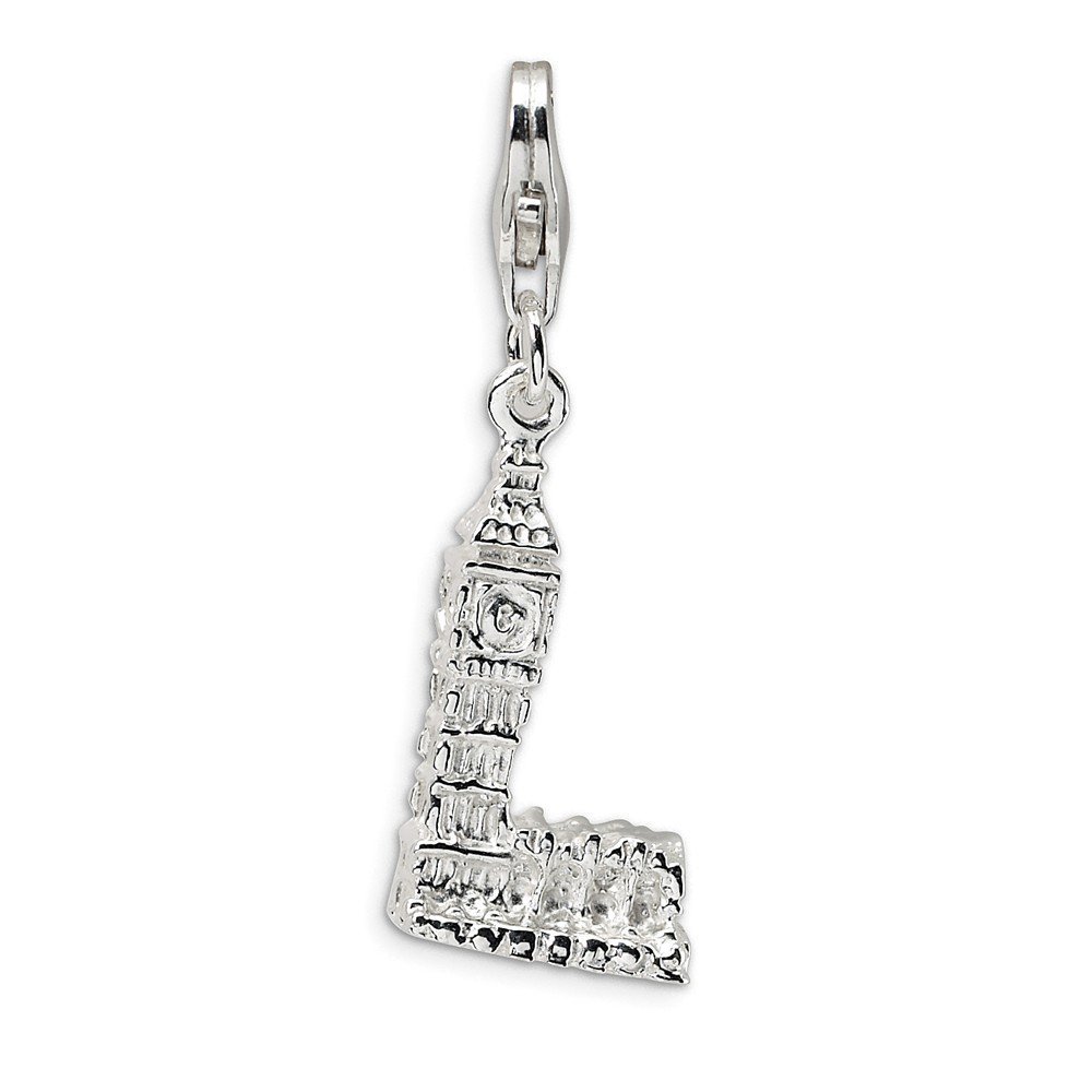 925 Sterling Silver Rh 3 D Big Ben Lobster Clasp Pendant Charm Necklace Travel Transportation Fine Jewelry Gifts For Women For Her