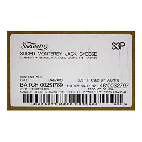 Sargento Monterey Jack Slice Cheese, 21 Ounce -- 18 per case. by Sargento (Image #3)