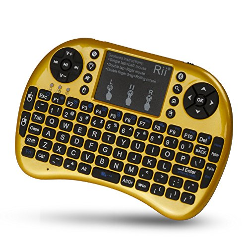 Rii RTi8BT-5 i8+ Mini Wireless Bluetooth Backlight Touchpad Keyboard with Mouse for PC/Mac/Android, Yellow