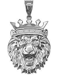 14K White Gold Lion King Pendant (S/M/L/XL)