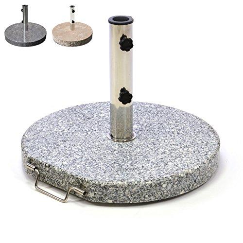 Sonnenschirmstnder-25kg-Granit-Marmor-Edelstahl-rund-50cm-Schirmstnder-poliert-grau-creme