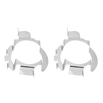 Elerose 2PCS Aluminio H7 LED Adaptador de faro Base Retenedor Braket Holder