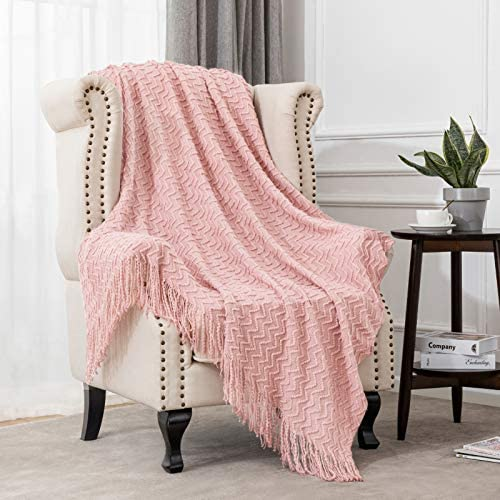 Angelhood Throw Blanket,Textured Knitted Soft Throw Blanket with Tassels for Couch Chair Bed Sofa Travel Lightweight Decorative Blanket Suitable for Women Men and Kids