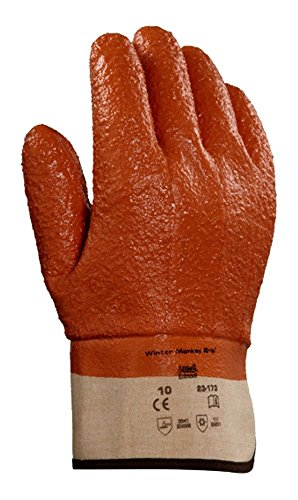 (Ansell Winter Monkey Grip 23-173 Raised Finish PVC Coated Glove, Size 10 (XL), 1 pr )
