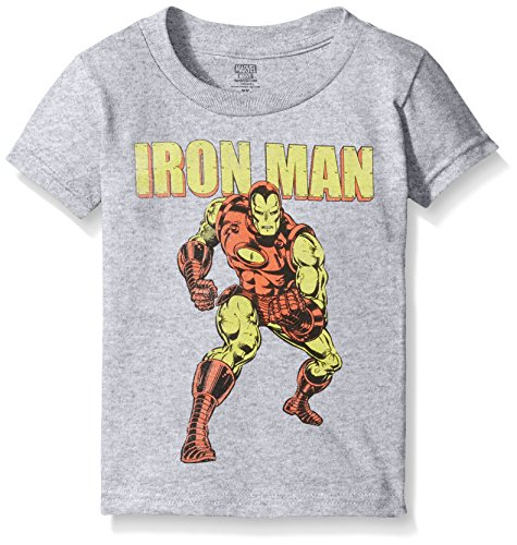 Marvel Little Boys' Toddler Iron Man Short Sleeve T-Shirt, Heather Grey, 3T