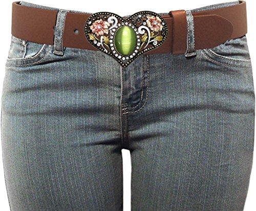 Olive Genuine Belt (Luna Sosano Women's Genuine Leather 1.5