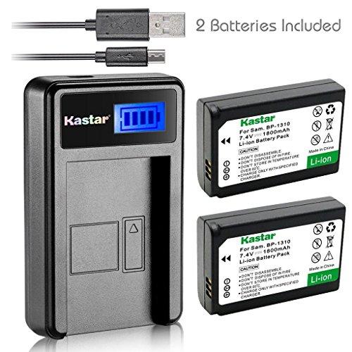 Kastar Battery (X2) & LCD Slim USB Charger for Samsung BP-1310, BP1310, ED-BP1310 and Samsung NX5, NX10, NX11, NX20, NX100 Digital Cameras